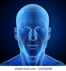 3D rendering of a human head with binary code