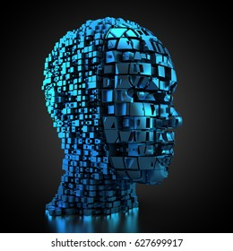 3D rendering: Human head made out of cubes