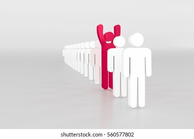 3d rendering of human sign for team leader concept