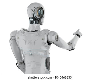 3d rendering humanoid robot finger point on white background