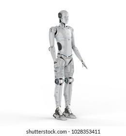 3d rendering humanoid robot full body on white background