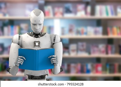 3d rendering humanoid robot reading a book in library