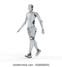 3d rendering humanoid robot walk on white background
