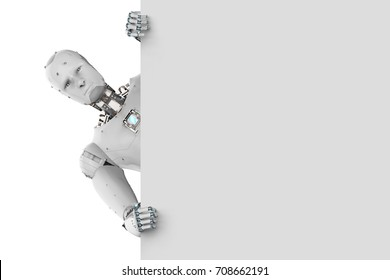 3d rendering humanoid robot with white blank paper