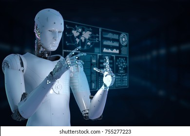 3d rendering humanoid robot working with glass digital tablet