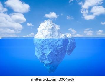 3d rendering iceberg floating on blue ocean