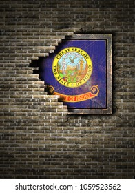 3d rendering of an Idaho State flag over a rusty metallic plate embedded on an old brick wall