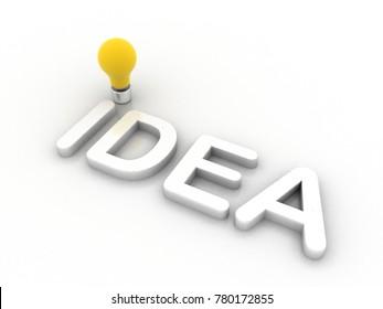 3d rendering idea light bulb