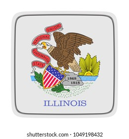 3d rendering of an Illinois State flag icon. Isolated on white background.