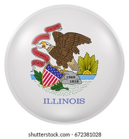3d rendering of  Illinois State flag on a button