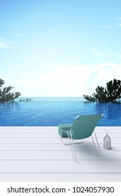3D rendering : illustration of a beach chair with swimming pool sea view. sun loungers on private deck and private swimming pool at luxury villa resort. travel in summer time concept. summer travel.