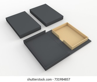3D rendering, 3D illustration black and brown mock up new packaging design for book hard cover or other products uses, clipping paths included.