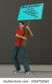 3d rendering of a 3d illustration containing a young man protester carrying a sign for diversity
