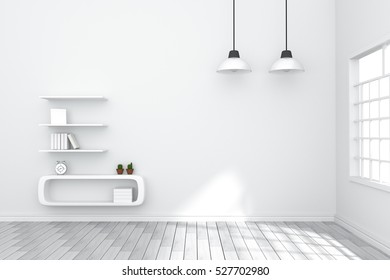 3D Rendering : illustration of cozy living-room interior with white book shelf against matt white wall.natural light from outside of the room.vintage lamp hanging on the roof