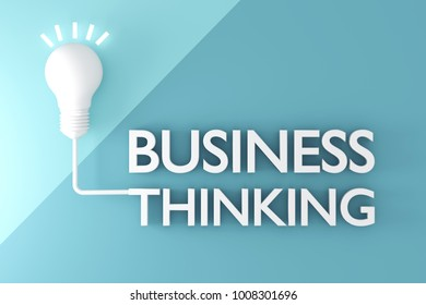 3D rendering : illustration of a diffuse light bulb shining with cable to text BUSINESS THINKING on flat pastel color background. business thinking concept. success or get target with idea.
