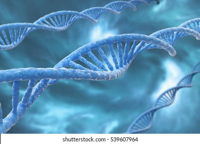 3D rendering illustration, , DNA molecules on the blue bluse background
