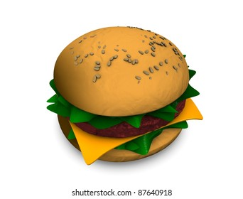 3d rendering, illustration of fast food burger, isolated on white.