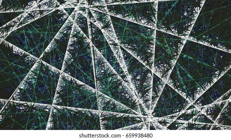 3d rendering illustration of a geometric net structure design q