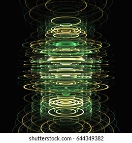 3D rendering illustration of green and yellow particle rings tower stacked over one another with a paint brush filter