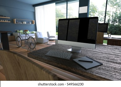 3D Rendering : illustration of internet pc cafe decoration interior or pc office of computer worker interior.modern loft cafe style.green nature out side.