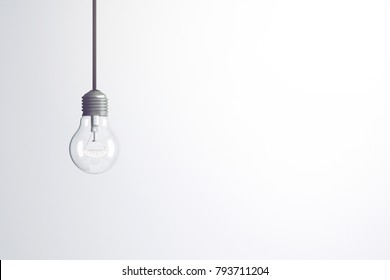 3D Rendering : illustration of a Light bulb against on white background. start up business concept. START IDEA concept in glowing light bulb. vintage style decoration object. think different concept