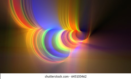 3D Rendering illustration of a light source shining through a complex geometric formation creating a colorful light