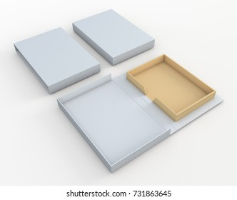 3D rendering, 3D illustration mock up new packaging design for book hard cover or other products uses, clipping paths included.