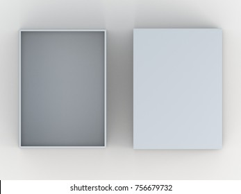 3D rendering, 3D illustration Mockup empty box and lid from top view in isolated background with clipping paths included.