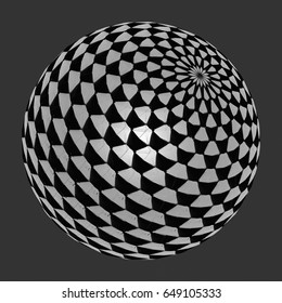 3D rendering illustration of a particle mandala with black and white cells