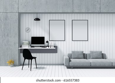 3D Rendering : illustration of pc computer desktop with keyboard on desk and wall. other accessories on white table in sunny room. loft cement concrete wall. minimalism interior mock up