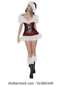 3D rendering illustration of pretty Santa�´s girl on white background isolated