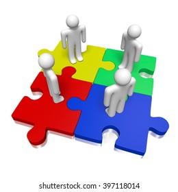 3D rendering/ 3D illustration - puzzle concept - teamwork/ success concept.