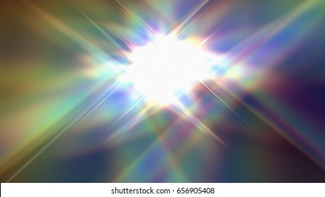 3D rendering illustration of a rainbow flare made from geometric structure design c