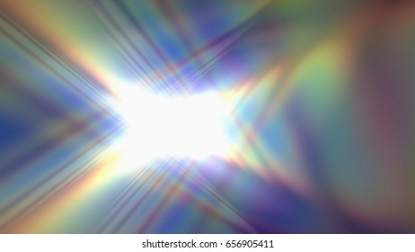 3D rendering illustration of a rainbow flare made from geometric structure design d