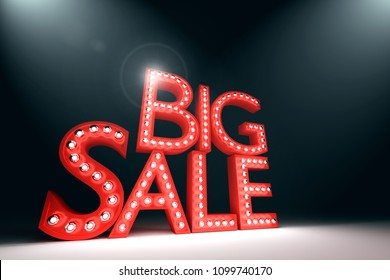 3D Rendering : illustration of realistic old lamp word BIG SALE light board. broadway style vintage light bulbs at red sale board. dark aria. sale-off product season. black friday sale.