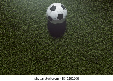 3D Rendering : illustration of soccer ball on green grass. white and black leather texture of soccer ball. light effect added. success background concept. high-resolution. sport background for editor