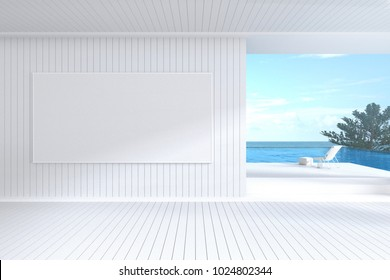 3D Rendering : illustration of white picture frame hanging on wall. sea view gallery room or living room interior. light and clean cozy modern style. pool villa with beach chair. clipping path include