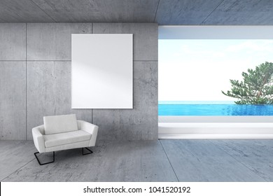 3d rendering : illustration of white picture frame hanging at cement loft tile wall. interior loft living room. white leather ancient sofa against wall. sea view and swimming pool villa outside.