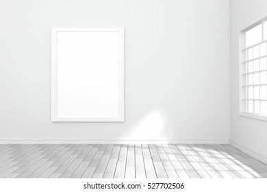 3D rendering : illustration of white poster hanging on the wall in empty room.space for your text and picture.product display template.white wall and wooden floor.light shining from outside