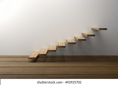 3D Rendering : illustration of wooden stair or steps up against white wall background with wooden floor,success, climb, business, staircase, rise, achievement, growth, hope or future