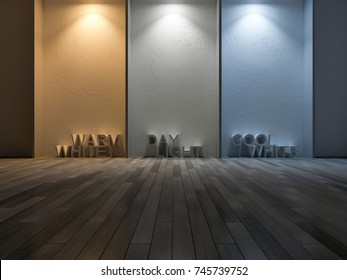 3D rendering image of 3 color on concrete wall made by use 3 different of lamps. Color temperature scale. Cool white,warm white, day light. 3 colors of light on the concrete wall and wooden floor