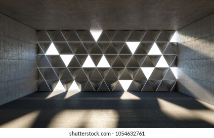 3d rendering image of abstract empty room triangle windows