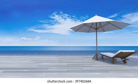 3D rendering image of daybed and umbrella on wooden terrace, sea view, infinity swimming pool