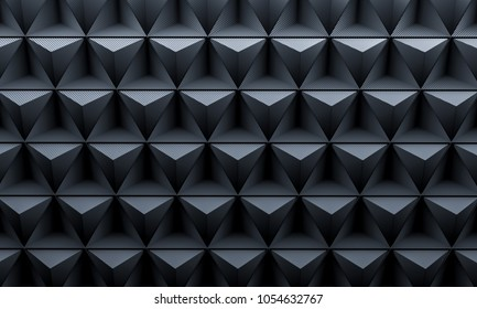 3d rendering image of geometric triangle carbon fiber background