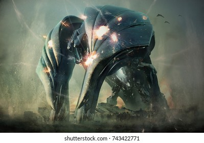 3d rendering of imaginative futuristic science fiction fantasy giant machine robot cyborg for military war protection shield