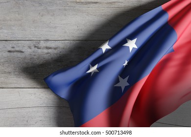 3d rendering of  Independent State of Samoa flag waving on wooden background