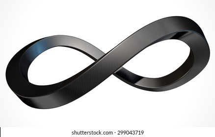 A 3D rendering of an infinity symbol made up of square tubing carbon fibre on an isolated white studio background