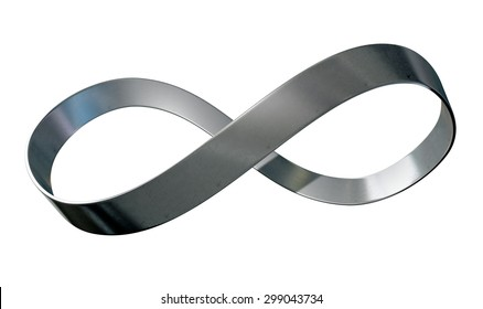 A 3D rendering of an infinity symbol made up of a ribbon of shiny steel on an isolated white studio background