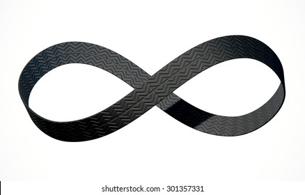 A 3D rendering of an infinity symbol made up of a ribbon of rubber tyre tread on an isolated white studio background