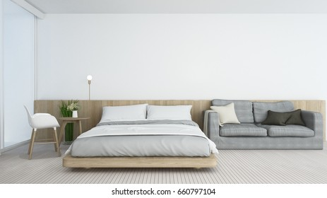 3D Rendering interior bedroom space and wall decoration